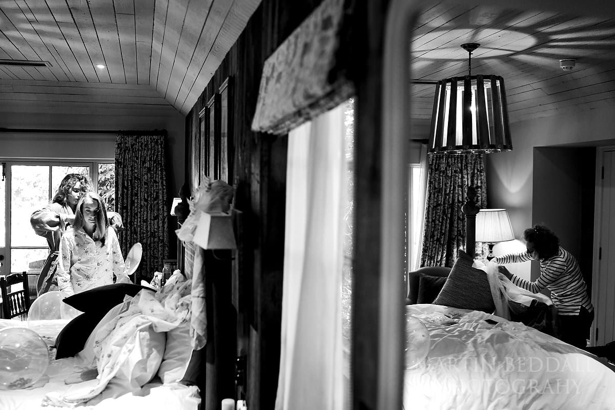 Getting ready in a lodge at the Pig hotel in Brockenhurst