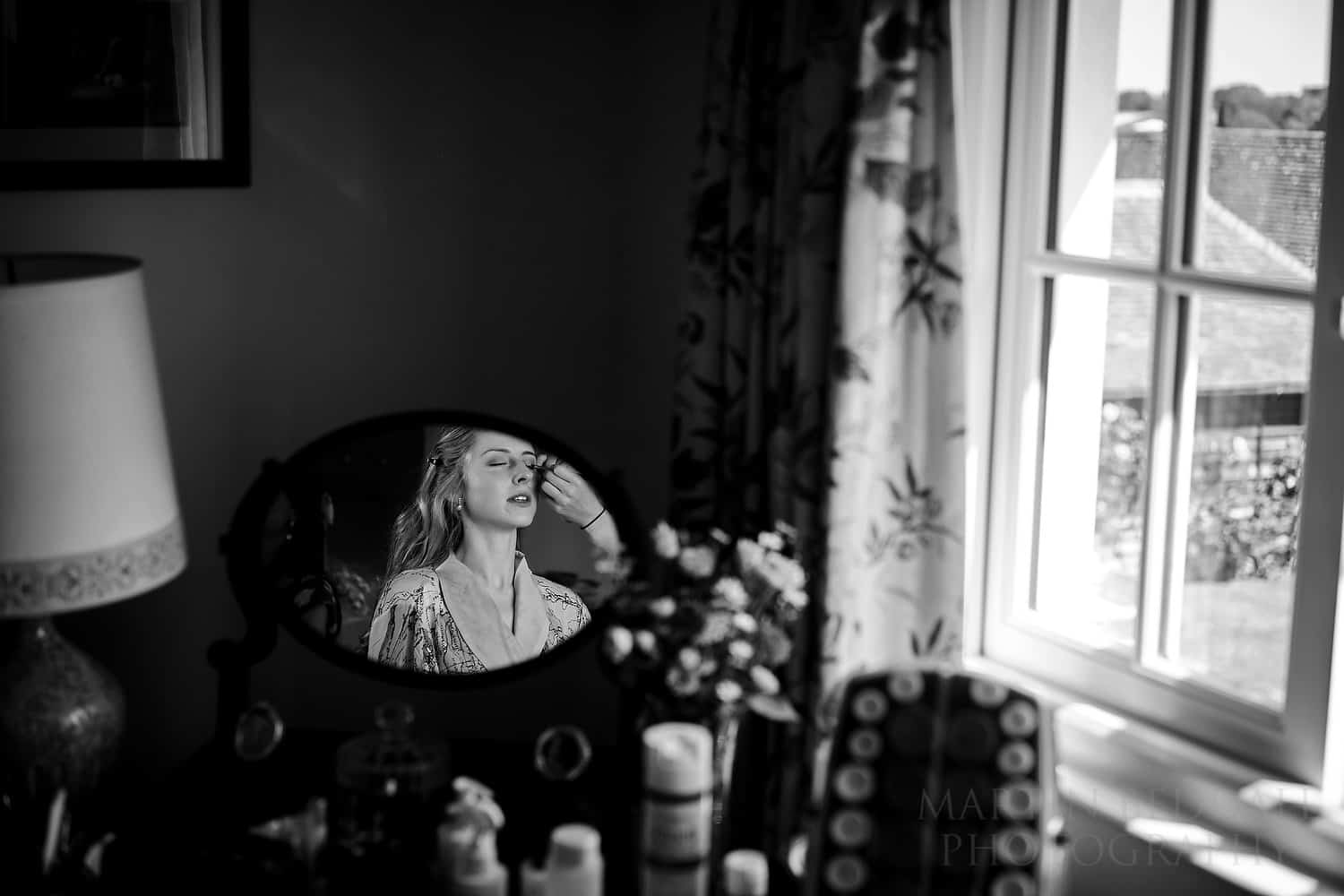 Bride reflected in the mirror