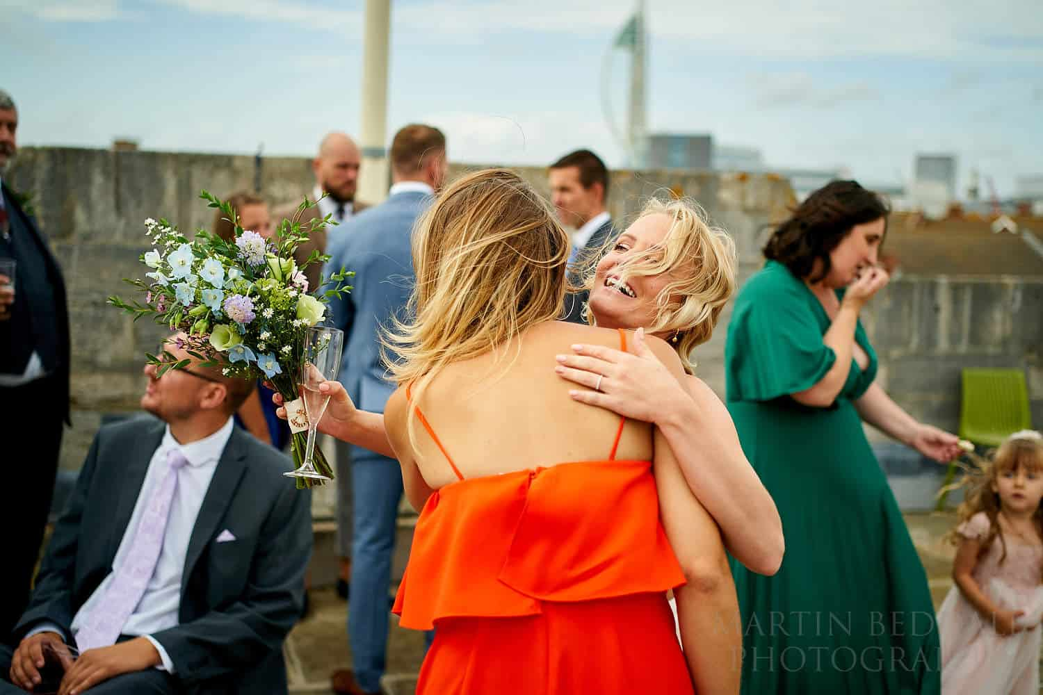Breezy wedding reception on the roof of the Square Tower