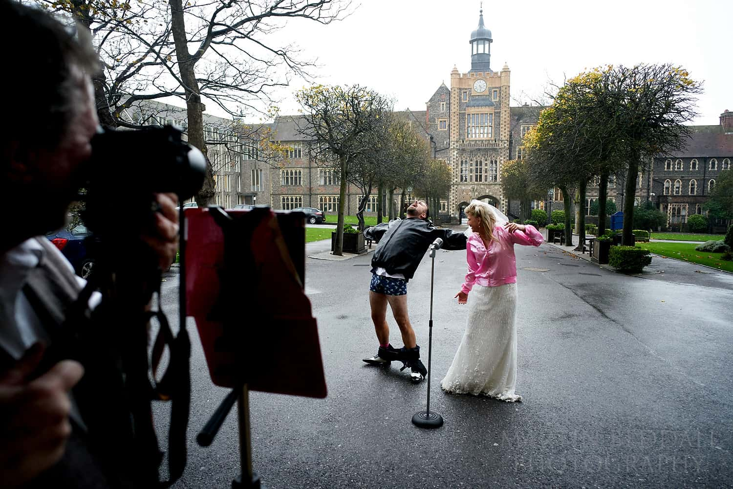 Groom drops his trousers as he sings at Brighton College