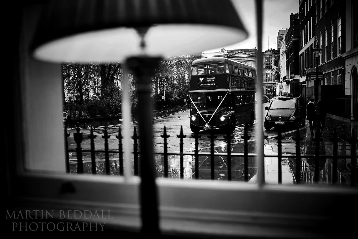 Wedding bus arrives at the In and Out club in London