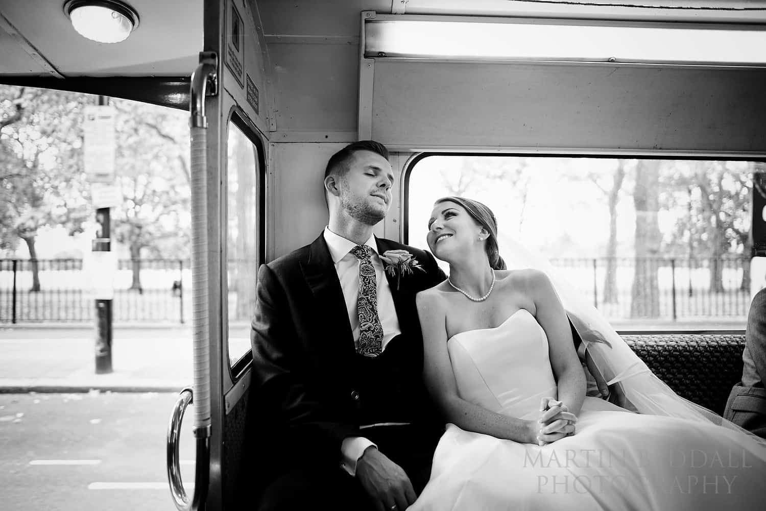 Just married and sat on the bus