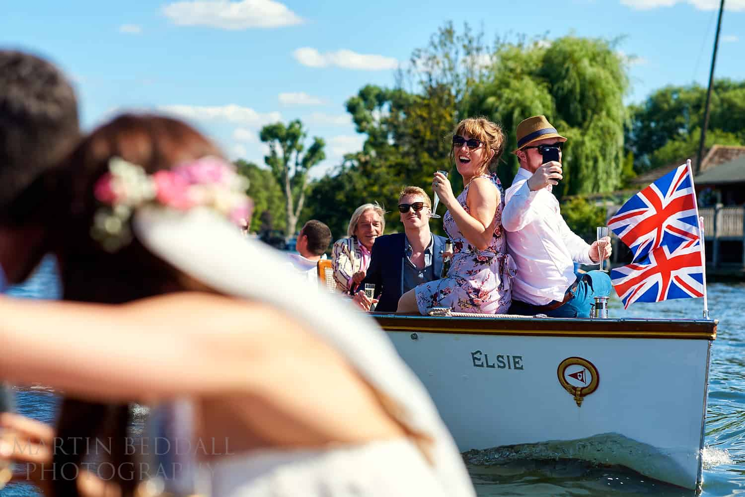 Wedding party on the river at Henley