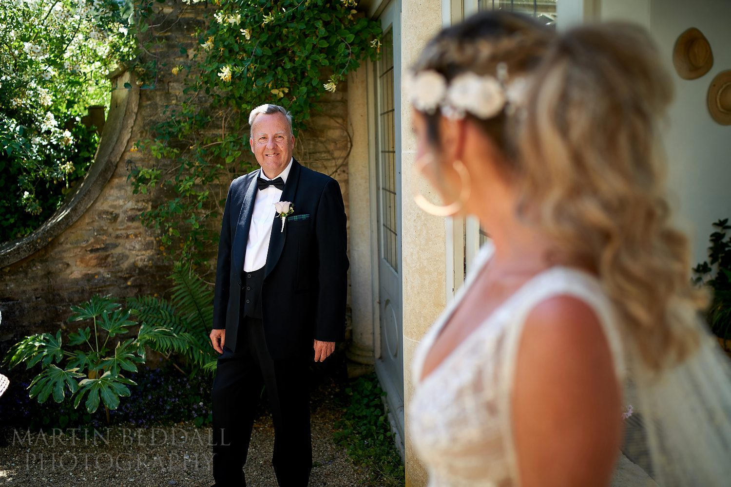 First look with his daughter the bride