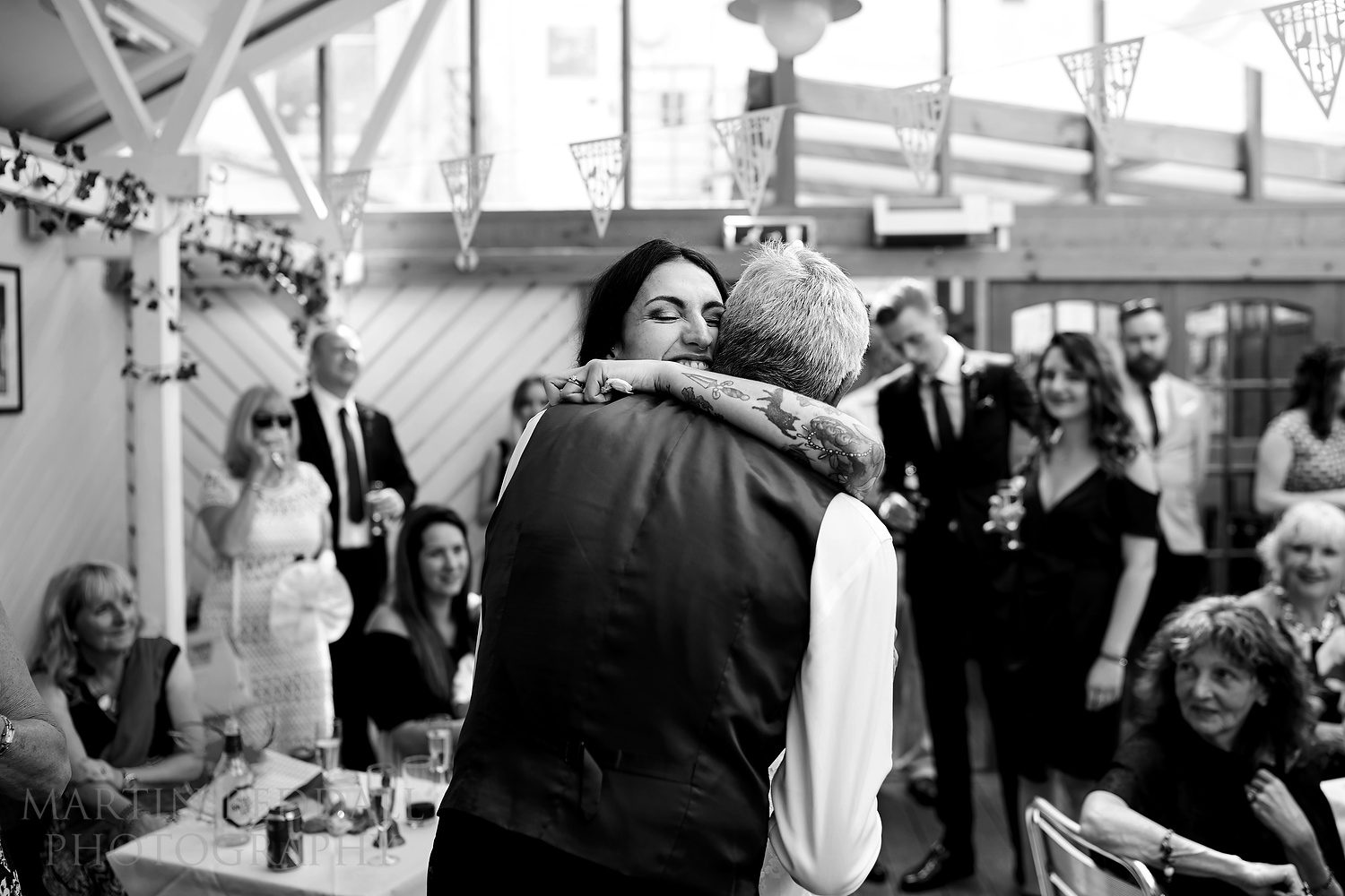 A hug for her father after his speech