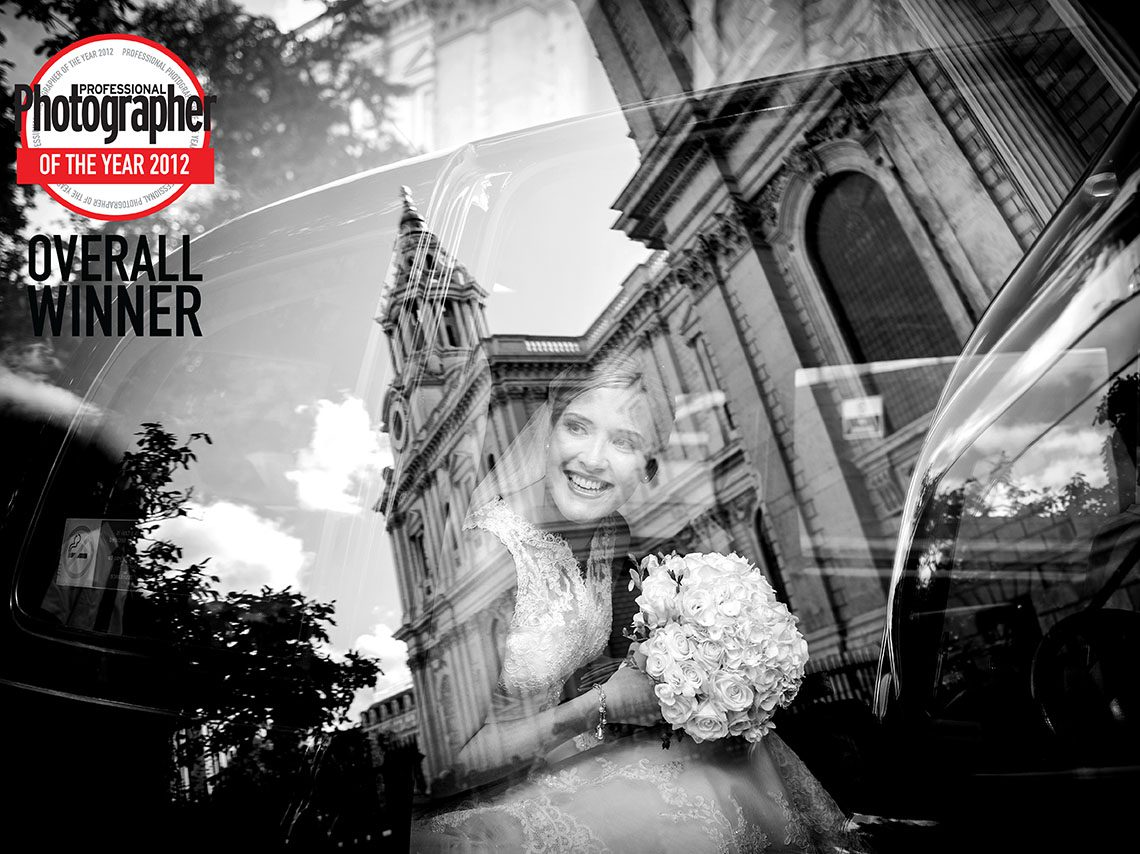 Photographer of the year award with a wedding photo