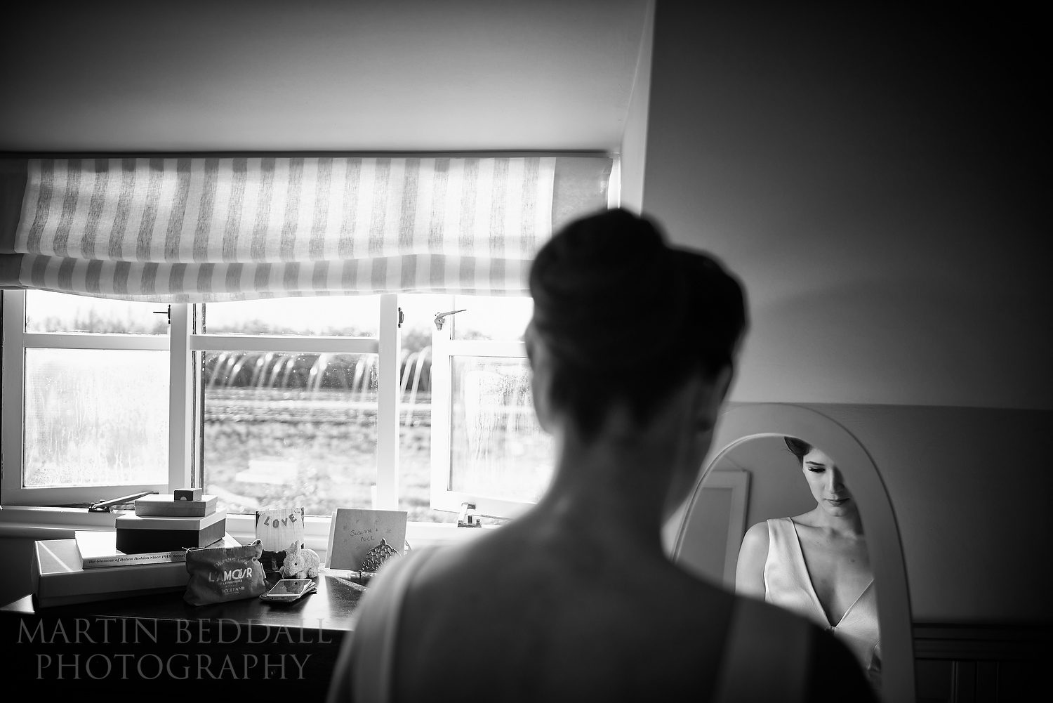 Quiet moment of reflection for the bride