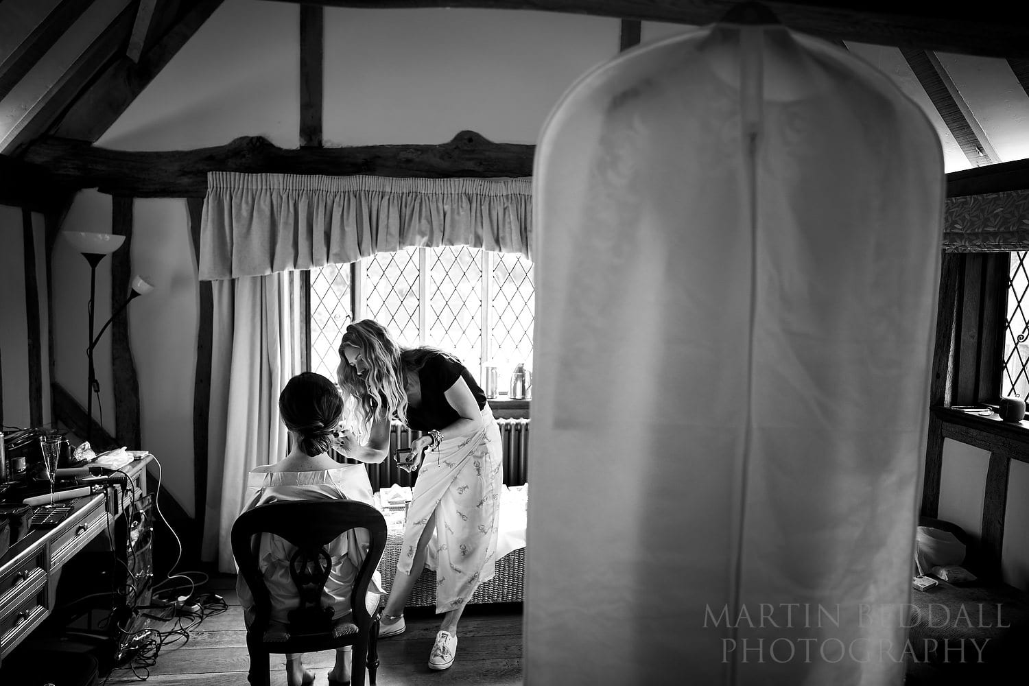 Bride getting ready at Cain Manor