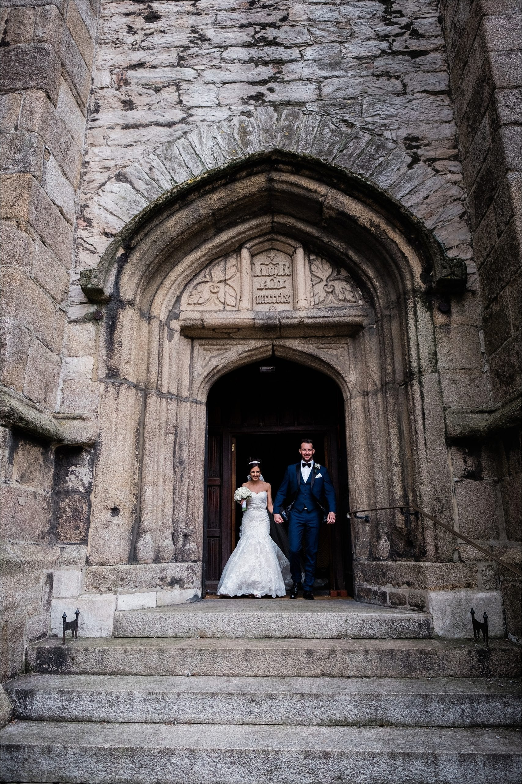 wedding couple at St. Andrew's Church